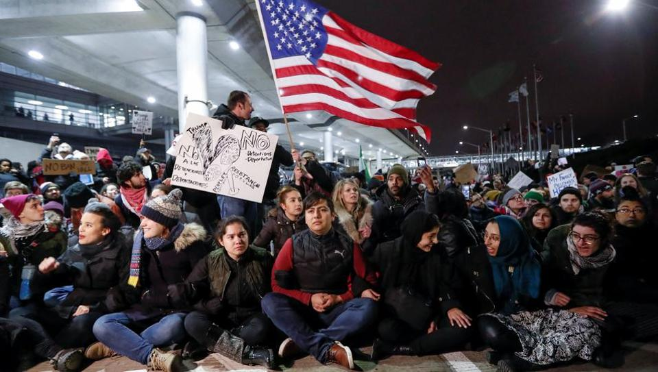 Protestors at an airport