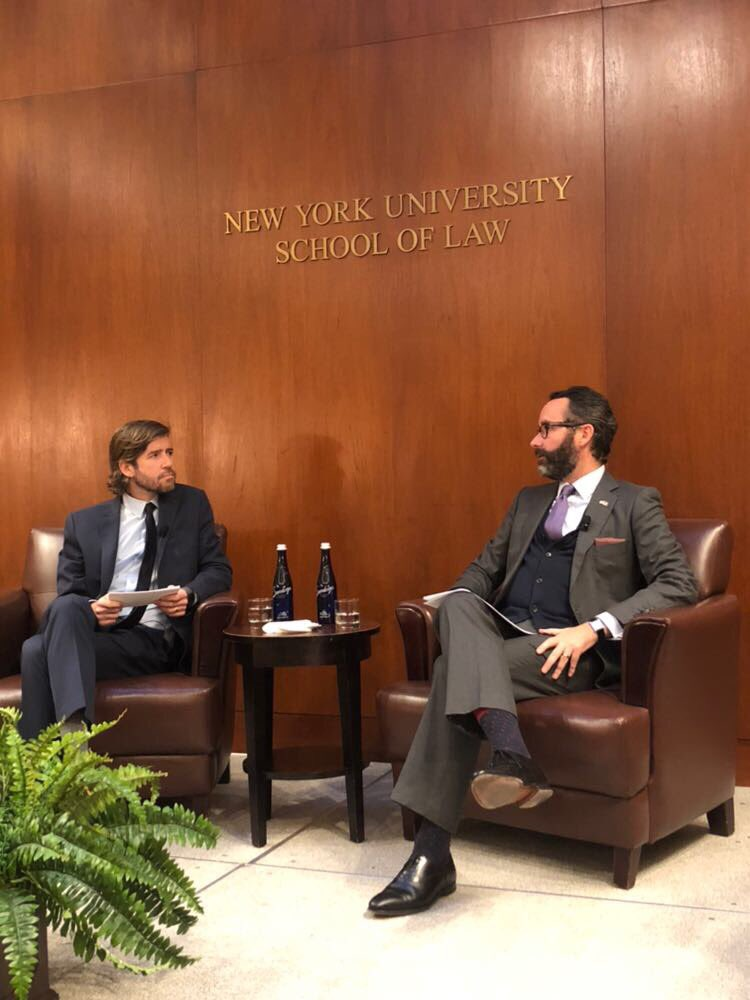 Professor Roy Germano in conversation with Ambassdor Diego Gomez Pickering, Consul General of Mexico