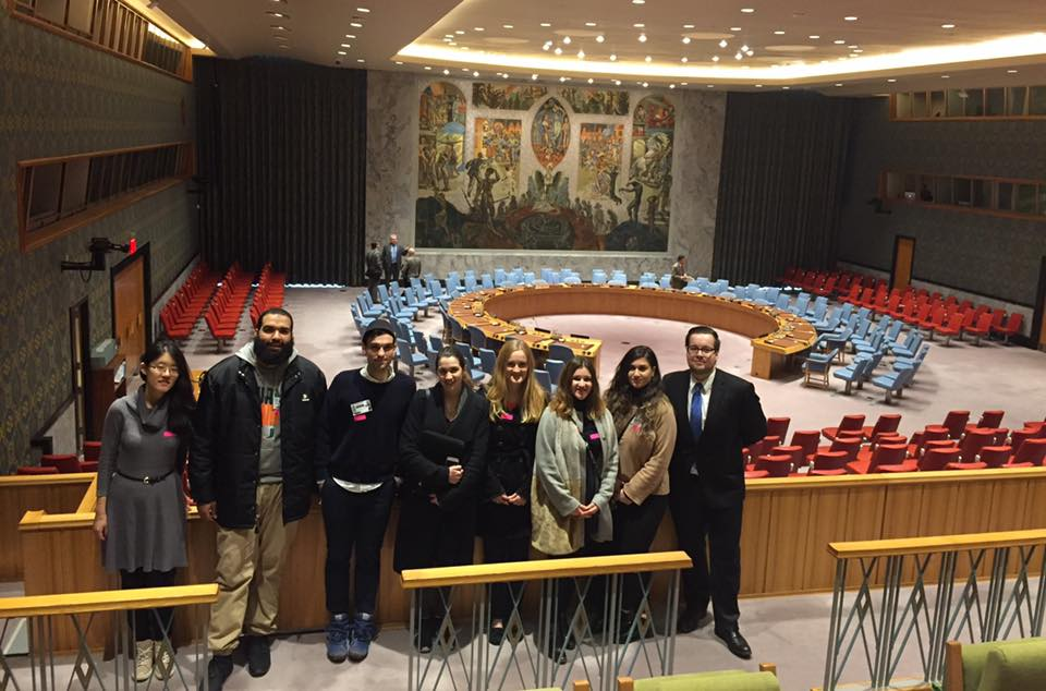 Students at the Security Council room at UN Headquarters
