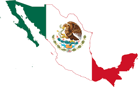Map of Mexico with a flag