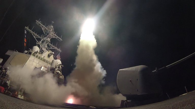 A rocket launch from a U.S. navy ship